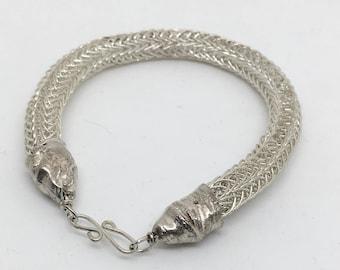 Silver Viking Knit Bracelet - Viking Knit Jewelry - Statement Bracelet - Braided Bracelet - Handmade Chain - Knitted Silver - Fine Silver