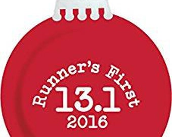 Runner's First 13.1 Christmas Ornament 2016 (Shiny Red)