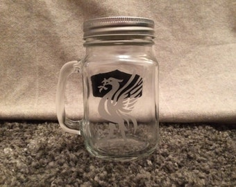 Liverpool FC Mason jar drinking glass