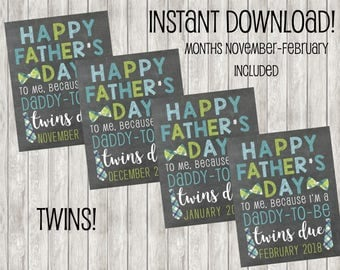 50% OFF! Instant Download Twins Father's Day Pregnancy Announcement | Baby Announcement | Baby | Babies | Holiday