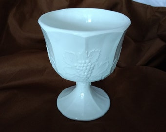 Milk Glass Compote in Grapes with Leaves pattern