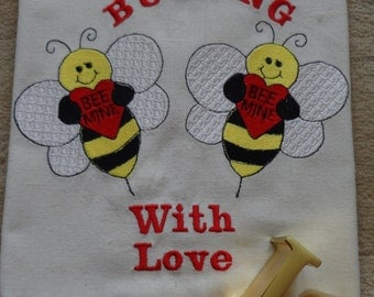 Buzzing Love Bees Embroidered Kitchen Towel