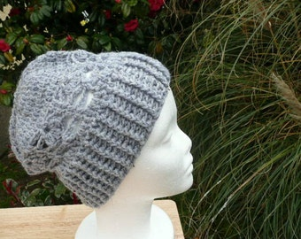 Ladies Grey Hat. Hand Crocheted Hat, Woman's Grey Hat, Size Med. READY TO POST.