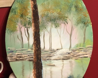 """Original by me unframed acrylic round portrait of the coosa river 16""""x12"""""""