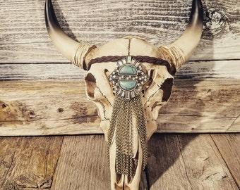 Turquoise Tassel Headpiece Bull Skull