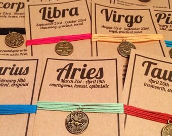Zodia star sign charm wish bracelet aries leo sagittarius tairus virgo capricorn gemini libra aqiarius cancer scorpio pisces