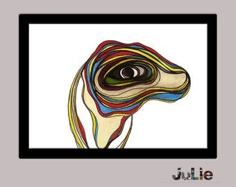 Printed poster, drawing scanned pencil, for room of child, animal head, bright colors, easy to frame, deco design