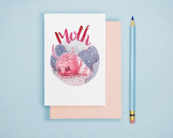 Moth Animal Art Illustration A6 Postcard Single Print