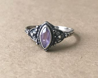 Vintage Sterling Silver and Amethyst Ring, Size 5-1/2