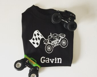 Boys personalized monster truck shirt