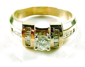 Contemporary 14k Gold Diamond Engagement Ring