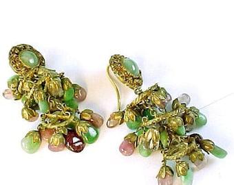 Jadeite Jade Tourmaline Gilt Lantern Earrings