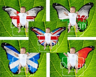 Pack of Five Newborn Photography Butterfly Wings England Ireland Scotland Wales and U.K. Digital Backdrops Flag Props Baby Toddler Backdrops