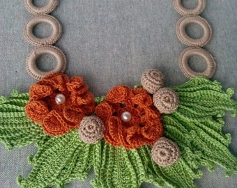 Crochet Necklace, Floral Crochet, Floral Necklace, Green and Terracota  Necklace, Crochet Jewerly
