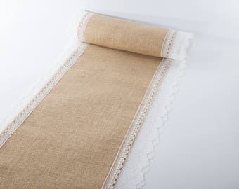 """Natural Jute Burlap Table Runner with White Lace 12"""" Width"""