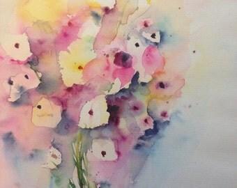 """Watercolor, flowers """"Bouquet"""" nature, flowers, unique, 30 x 40 cm"""