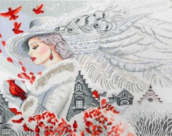 Cross stitch pattern PDF winter, Cross stitch pattern PDF people, Cross stitch pattern PDF snow