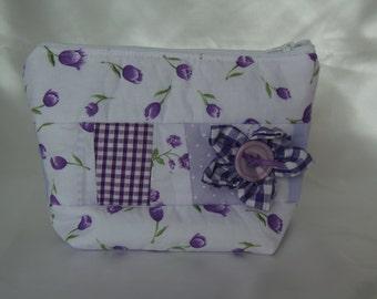 purple flower make up bag
