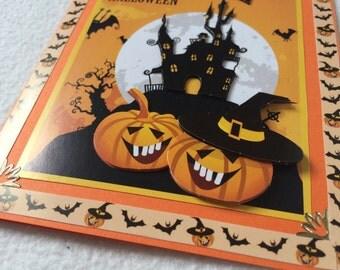 Handmade card in the 3-D design, Halloween