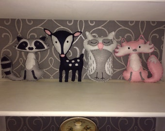 Woodland Animal Stuffies - Pink, Grey and Navy