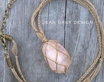 Netted Macrame Rose Quartz Necklace Adjustable Length