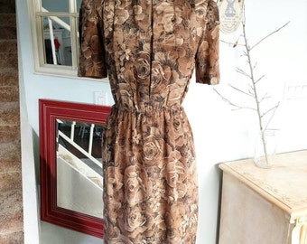 Vintage 1970s Wiggle Dress | Pencil Dress | Von Bramlett Petite | Floral | Size 3/4