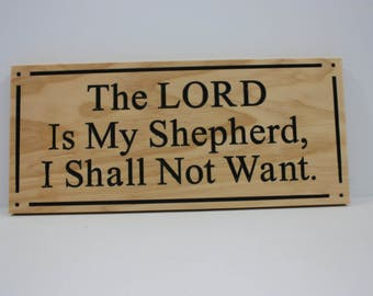 The LORD Is My Shepherd; Carved and Painted Wooden Sign - Christian Wall Art - Made To Order - Inspirational Sign