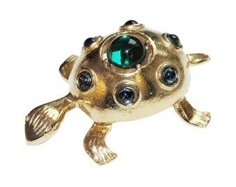 Brooch VINTAGE - blue green turtle