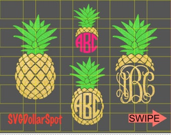Pineapple Monogram SVG - Pineapple SVG -Minnie - SVG File - Silhouette Studio File