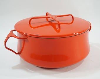 Dansk Kobenstyle Enamel 2 1/2 qt. pan, Dansk Enamel Pan, Denmark, Orange, Retro Kitchen Mid Century, Free Ship