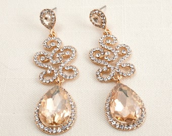 Champagne Swarovski Crystal Cubic Zirconia Wedding Bridal Chandelier Earrings JSB10059EChampagne