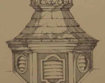 Archicture, Drawing, Building Illustration, Cupolas, Marlene Ekman, Wall Art, Collectible, Gift, Vintage