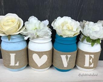 Love Mason Jar Decor // Mason Jars // Wedding Decor // Mason Jar Decor // Mason Jar Centerpieces // Burlap Mason Jars // Wedding Anniversary