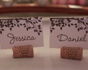 Wine cork placecard holder - set of 20 - for wedding or special occasion