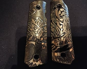 Fully etched 1911 grips