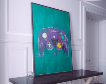Nintendo Painting Print. Nintendo Retro Gaming Poster. Large Sizes Available. GAMECUBE Controller