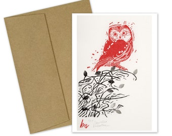 Saw-Whet Valentine Greeting Card