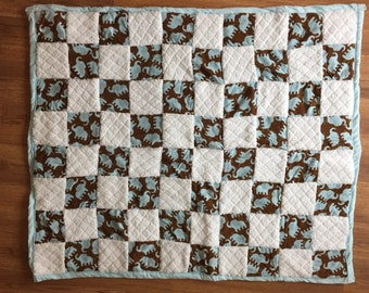Blue Elephant Baby Quilt