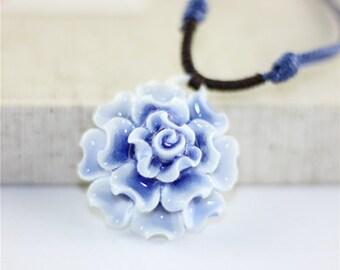 Blue Ice Peony Necklace