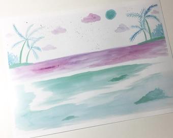 Beach Life Watercolor Print