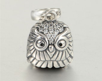 Authentic Sterling silver Owl charm beads perfect fit for pandora and troll or european bracelets