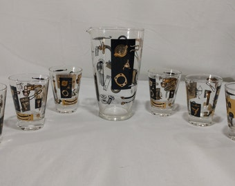 retro industrial martini pitcher with six glasses