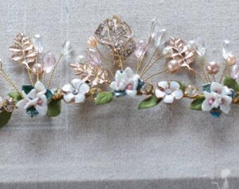 Bridal Ceramic Pearl Rhinestone Floral Tiara// Prom Headpiece