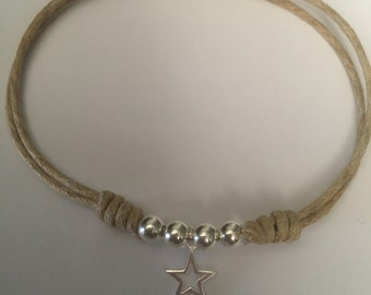 Sterling silver and cord bracelet