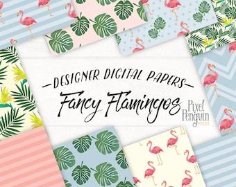 Flamingo Digital Paper, Watercolor Pink Flamingos Printable, Tropical Paper Pack, Summer Scrapbook, Bird of Paradise Flower Pattern, Leaves