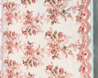 Peach Rose Floral Mesh Fabric by the yard