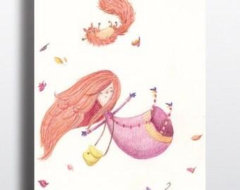 Nursery art, Art poster, Girl Nursery art, Childrens room art, Art print, Girl and Squirl having Autumn Fun