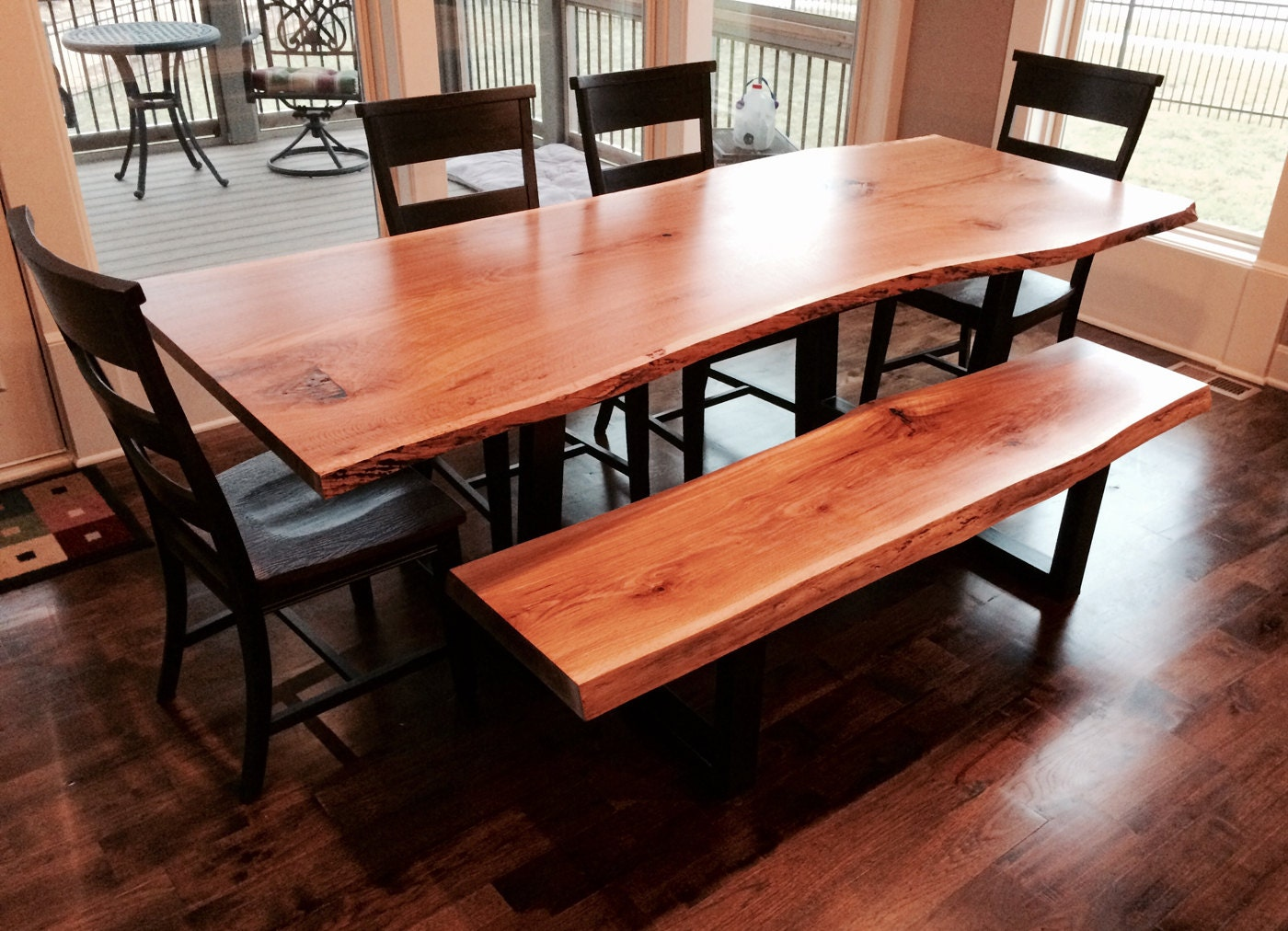live edge dining table with matching bench. Black Bedroom Furniture Sets. Home Design Ideas