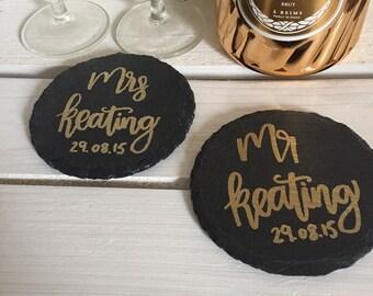 Personalised wedding slate coasters - set of 2 - wedding gift/anniversary gift