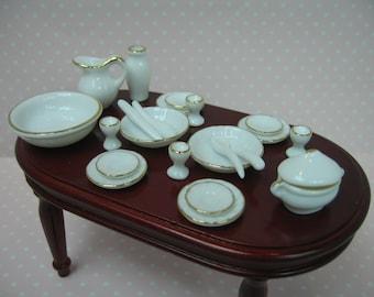 Miniature  dolls house 22pcs white gold trim dinner set